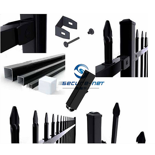 Press formed bent spear security fencing accessories:
