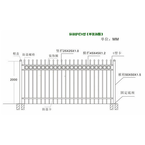 Electroplated galvanized ornamental iron railings